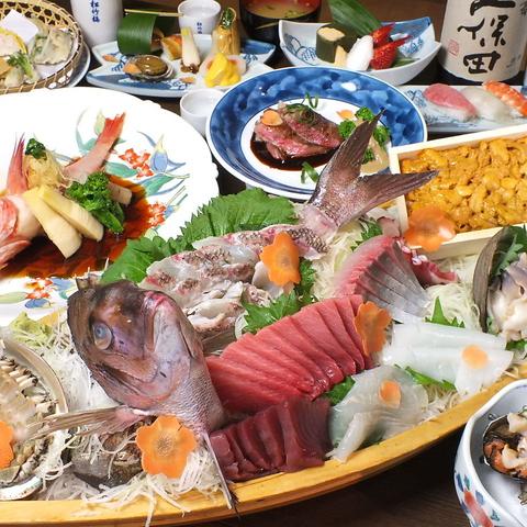 旬の魚介を毎日仕入れ、丁寧にさばく…修行を積み受け継がれた職人技をご堪能下さい。