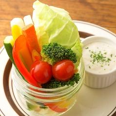 料理メニュー写真ヘルシー野菜のバーニャカウダ/フレッシュアボカドマヨ&ガーリックトースト添え