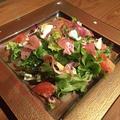料理メニュー写真生ハムとシャンピニオンのミモザ風サラダ
