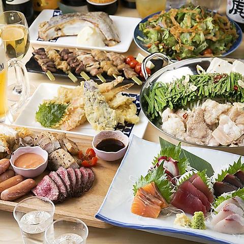 【3H飲み食べ放題付】肉盛りプレート&季節の鍋付全9品『肉居酒屋 堪能』コース4,000円!