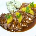 料理メニュー写真ハンガリー産合鴨ステーキ ブラッドオレンジソース
