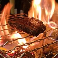 料理メニュー写真牛ハラミステーキの藁焼き