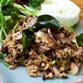 料理メニュー写真ハーブと野菜、豚ひき肉のスパイシーな和え物「ラープ・ムー」