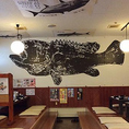 座敷席には大きな魚の魚拓が!インパクト抜群です♪