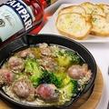 料理メニュー写真砂肝とブロッコリーのアヒージョ