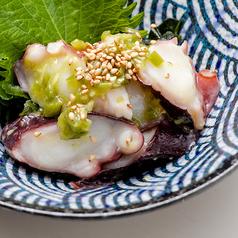 黒豆枝豆/たたきキュウリ/トマトスライス/イカの沖漬け/地タコのたこわさ