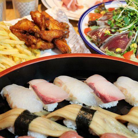 【学生さんに大人気♪】寿司、ローストビーフ含むお任せ料理6品+2.5時間飲み放題コース☆3000円
