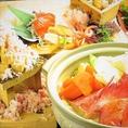 札幌駅でのご宴会なら、当店一番人気のこちらのコースがオススメ!道産の霜降り和牛すき焼き・産直うに鍋・生タラバ・ズワイ2大蟹鍋がチョイスできる!さらに、全国の有名地酒が10種類以上飲み放題付!!新鮮な海鮮料理を楽しめる居酒屋でのご宴会は是非当店で!