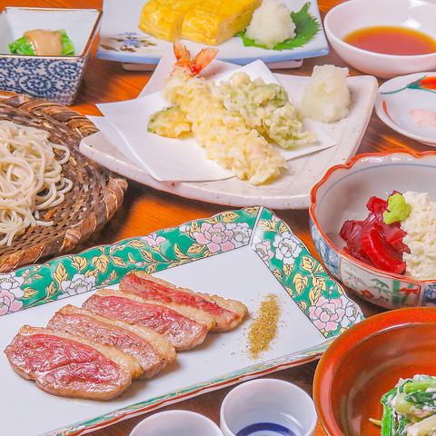 【オススメ】こだわりの小鉢料理から天ぷら、お蕎麦まで堪能できる『蕎麦コース』全7品3500円