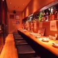 カウンター席もゆっくり寛げる掘りごたつになっていますので、のんびりと美味しい料理とお酒で語り合ってください。