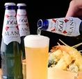 天ぷら専用クラフトビール『クローネンブルグ』with天ぷら!弱い苦味とほのかに甘い柑橘系のビールテイスト!
