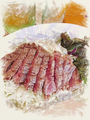料理メニュー写真熟成牛ステーキプレート
