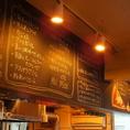 店内の上にあるボードにもメニューがございます★前菜・肉料理・ピザなど豊富な種類のイタリアン料理をご用意してますよ!!