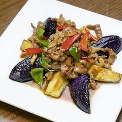 茄子と豚挽き肉のタオチオ炒め