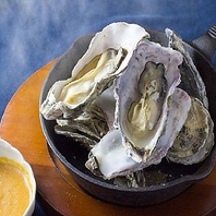 蒸し牡蠣をミントで香り付けしたウォッカでフランベ♪