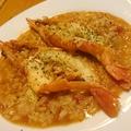 料理メニュー写真キノコとベーコンのクリームリゾット/赤エビのトマトリゾット