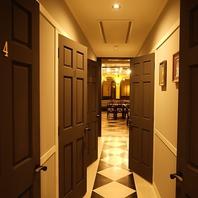 まるでお洒落なホテルのような個室の扉