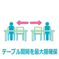 2名様で4名テーブルを使用したり、大きな個室をご利用いただいたり、テーブル間隔をあけて、ソーシャルディスタンスを確保できるようにしております。