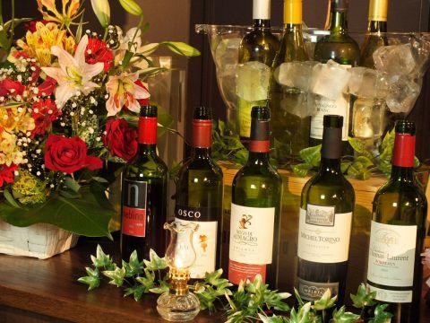 当店自慢の10種類のワインが愉しめるワインビュッフェ含む飲み放題90分2000円