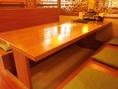 掘りごたつ式のテーブル席や