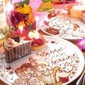 料理メニュー写真誕生日・記念日にメッセージ入りデザートプレート贈呈★