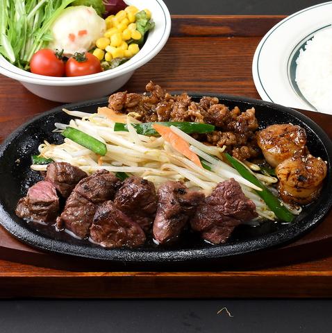 ステーキとホルモンを鉄板で職人が豪快かつ丁寧に焼いた天ホルスタイルの鉄板焼!!