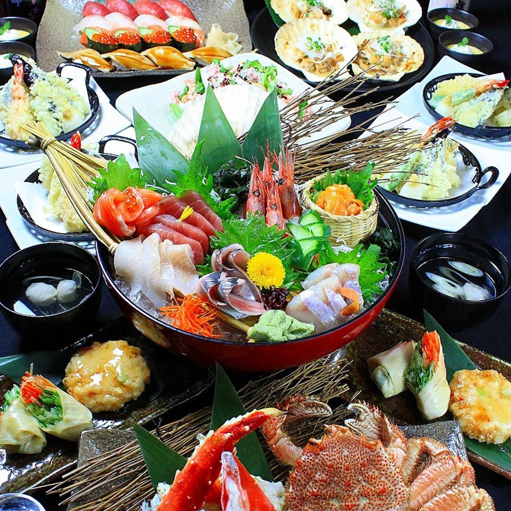 豪華7000円→6000円は豪快刺身盛り合わせ、特選にぎり寿司、蟹の盛合わせなど贅沢すぎる内容!