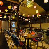 開放的な空間にお座りいただけるテーブル席♪お洒落な空間でお鍋やモンゴル料理を満喫できます!※6月末までのご利用は店舗までお問い合わせ下さい。屋上テラスのビアガーデンでバーベキューを楽しみましょう♪