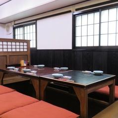 ゆっくりお過ごしいただける掘りごたつ席。4席×4、2席×1の広いお座敷スペースで会社宴会にもおすすめ♪
