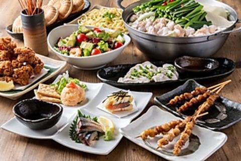 ☆とりかわ・博多もつ鍋を含むこだわり料理を13品☆中州コース 3500円(税込)