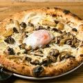 料理メニュー写真5種のキノコと温泉卵のピッツァ