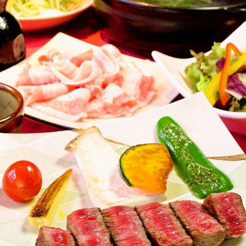 極上!南の島豚葱しゃぶ& 宮崎牛鉄板焼きコース4700円