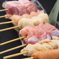 九州産の鶏にこだわり、豚バラは、宮崎産ハーブ無菌豚とこだわりの焼き鳥。100円から。