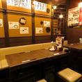 小・中規模の宴会や合コン、仲間内の飲み会にオススメのテーブル席♪広々としたテーブル席は開放的で常連さんに人気なお席です。