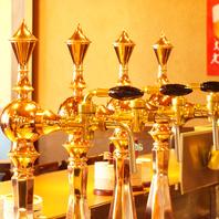 カウンターから覗く『ご馳走ビール』のビールサーバー