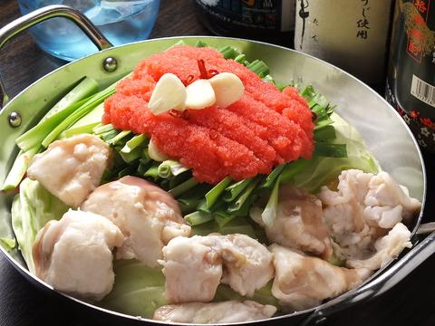 寒い日にはもつ鍋!ぜひご賞味ください。明太子など博多名物を多数ご用意しております