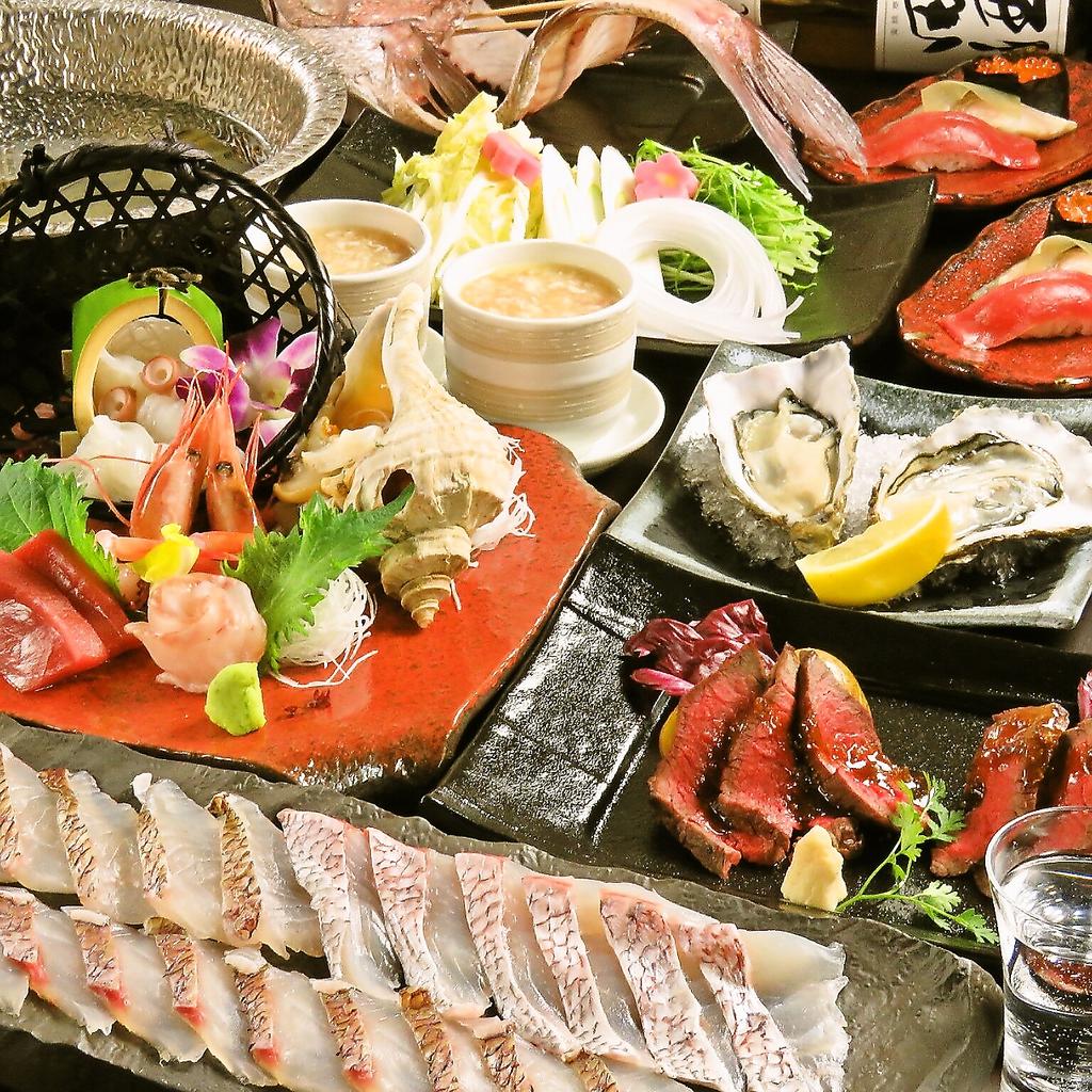 【豪華】新年会限定コースは5000円♪牡蠣×鯛しゃぶ×白老牛の豪華コラボをお楽しみください