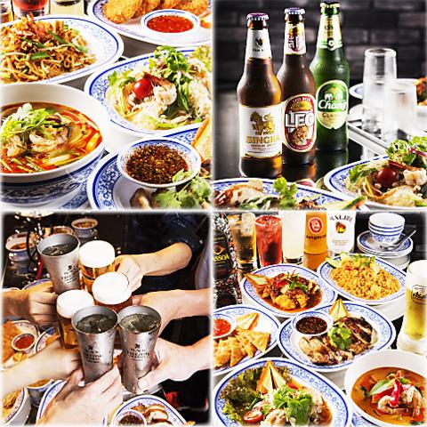 某TV番組でも紹介された、人気の屋台風タイ料理店♪宴会向けの飲み放題コースも!