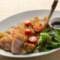 料理メニュー写真もち豚のハーブカツレツ ルッコラ添え