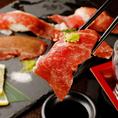 爆発的人気の「肉寿司」がなんと食べ放題で楽しめる。肉寿司の良さを最大限に引き出すため、肉屋から直接仕入れる新鮮なお肉を使用し、素材本来の味わいを堪能できるよう工夫しております。肉寿司が好きな方だけでなく、今まで食べたことがない方も是非これを機に肉寿司に挑戦してみてください。