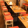 テーブル席は7卓ございます!!人数に応じてテーブルの配置は変更できます◎