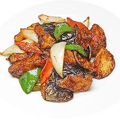 空芯菜炒め/ナスの味噌炒め/ベーコンとおくらの炒め