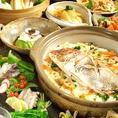 野菜と鮮魚のお造り盛&鯛釜飯付豪華コース
