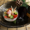 料理メニュー写真親子鶏だし汁 冷製茶わん蒸し~土佐酢ジュレ 冷製夏野菜と共に~