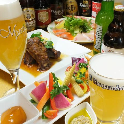 ベルギービールを始め、世界のビール100種類!ワインも豊富◎コース3980円~ご用意。