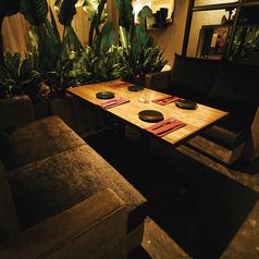間接照明に照らされた観葉植物で仕切られたソファ席です♪