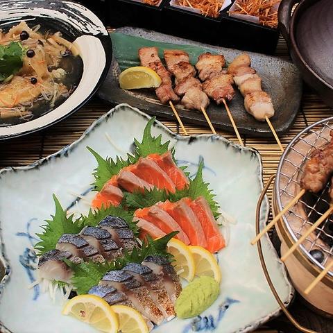 【1人1皿ご提供】【3時間飲み放題付き】全7品 茶美豚炭火焼串と鯛土鍋飯コース