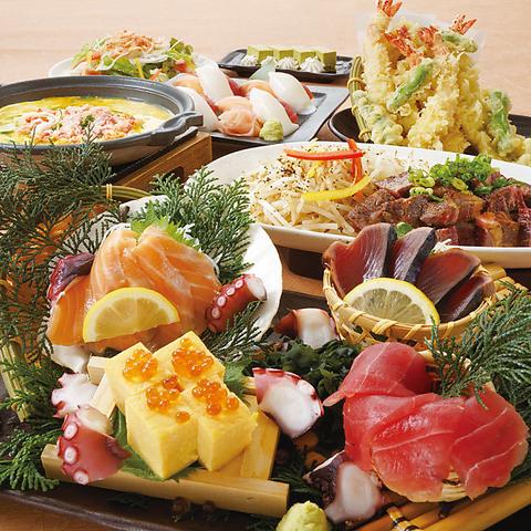 【満足コース】アンガス牛肩ロースステーキやにぎり寿司3貫など全7品 2H飲み放題付き 4500円
