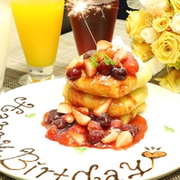 お食事の後にサプライズケーキでお祝い♪