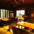 【1F】お座敷テーブル席。古民家をリノベーションした特別な空間です。